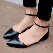 2015 Womens Girls pointy Toe Roma Ankle Strap Ballet Flat Spring Shoes Plus SIze