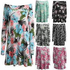 New Womens Long Sleeve Off Shoulder Floral Swing Dress Top 8-22