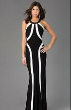 NEW Faviana 7573 Long Evening PROM Gown Black/Ivory-WhiteJersey Dress Sizes 0-12