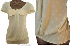 BRAND NEW LADIES NEXT YELLOW/WHITE SPOTTED  PRINT SUMMER BOW TOP  SIZE 6~22