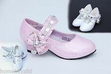 Girls Children Kids Pink/White Party Wedding Shoes Sandals Mary Jane Style-NEW