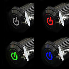 16mm 12V Car Silver Aluminum LED Power Push Button Schalter Latching Beliebt