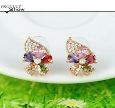 fashion 18K rose Gold Plated Flower Austrian round Crystal stud Earrings
