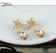 18K Gold Plated oval Austrian Crystal Wedding star stud threader Earrings women