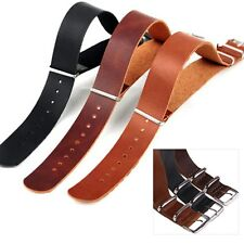 Mens 18/20/22mm Black Brown Genuine Leather Strap Steel Buckle Wrist Watch Band