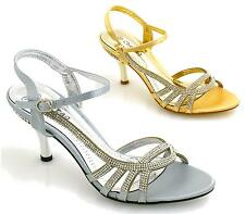 LADIES BRIDAL WEDDING SANDALS HIGH HEEL DIAMANTE SLING BACK PARTY EVENING SHOES