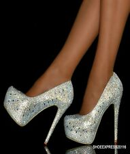 WOMENS NEW SEXY SILVER  DIAMANTE ENCRUSTED HIDDEN PLATFORM HIGH HEEL SHOES 2-7