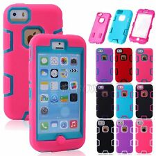 Dual Layer Rugged Combo Shockproof Hybrid Silicone Hard Cover Case for iPhone 5C