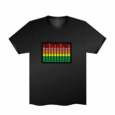 Sound Activated EL LED T-Shirt Disco Party Music Flashing Dancing equalizer
