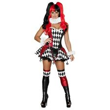 Sexy Harlequin Costume Adult Jester Harley Quinn Halloween Masquerade