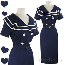 New Sailor Pinup 50s Rockabilly Party Dress S M Navy Blue White Nautical Collar