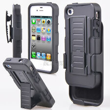 Hybrid Armor Impact Hard Kickstand Belt Clip Holster Combo Case For iPhone 4 4S