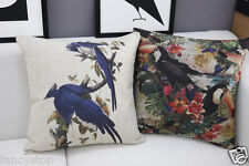 Chinese Wind parrot bird print cotton&linen Sofa cushion case/pillow cover