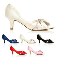 LADIES DIAMANTE BRIDAL MID HEELS WEDDING PROM PARTY WOMENS SHOES SIZE 3-8