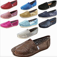 Fashion Brand New Women Glitter Slip-on Shoes Flat Canvas Loafers Party Shoes