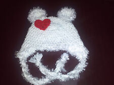 New Handmade Crochet White Teddy Baby Mother's Day Hat Photo Prop in All Sizes