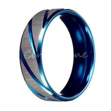New Men's Fashion Blue Silver Brushed Stainless Steel Wedding Band Ring Jewelry