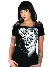 Too Fast Dead Hot Annabel Bow Top Emo Rockabilly Day Dead Pinup Glam Gothic Punk