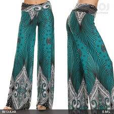 New women's high waist geometric print wide leg palazzo pants teal color S M L
