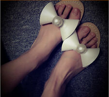 Women summer sexy simple solid pearl bead bowknot flat slippers casual sandals