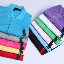 New Fashion Mens Polyester Solid Lapel Collar Short Sleeves POLO T-Shirt 4 Size