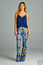 BOHEMIAN 70's HIPPIE FLARE PALAZZO BELL BOTTOMS BLUE BALI Print CUT TO FIT USA