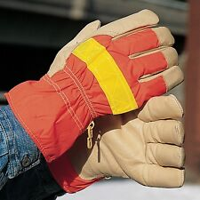 NS Hi-Vis Safety Cuff Reflective & Insulated Pigskin Leather Work Gloves Pair