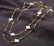 Lucky Enamel Four Clover Leaf Crystals Long Chain Necklace