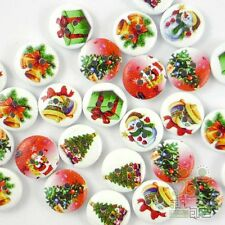 20/100pcs Assorted Wood Christmas Round Buttons Lot 13mm Craft/kids Sewing Cards