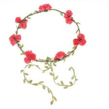 Kids Floral Garland Hair Bun Ring Holder Band Flower Leaf Top Knot Scrunchie New