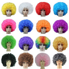 AFRO WIG COLORFUL CURLY MENS LADIES CLOWN HAIR FOOTBALL SUPPORTER BOMB FULL WIGS