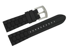 Silicone Rubber Black Diver Watch Strap Band For Armani  AR5905/AR5906