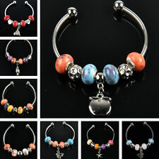 HS13 GLASS crystal porcelain silver plated beaded charm bangle bracelet S2