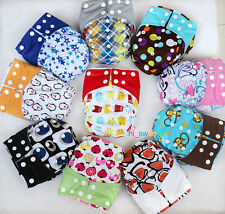 New Infant Baby Cloth Diapers Nappies Adjustable Reusable One Size Snaps Inserts
