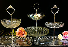 2 tier Vintage Retro Cake, High Tea or Jewellery Stands Depression Glass plates