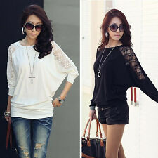 2015 Fashion Womens Long Sleeve Tops Casual Dolman Lace Loose Shirt Batwing Tops