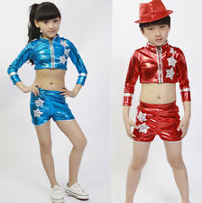 Kids Dancewear Top&Pant Paillette Girls Boys Modern Jazz Hip Hop Dance Costumes