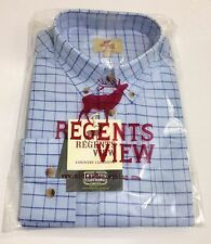 Regents View Mens LONG Sleeve 100% Cotton Country Check Shirts Midlands Clothing
