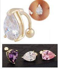 Sexy GP 316L Steel Reverse Heart Gem Crystal Navel Bar Ring Belly Ring 3 Colors