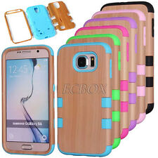 Heavy Duty Wood Grain Hard PC Soft Rubber Hybrid Matte Case for iPhone & Samsung