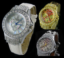 Classical Style Crystal Dial Decorated Leopard Leather Ladies Wrist Watch Gift