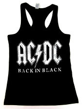 AC/DC Tank Top T-shirt Distressed Back In Black Metal Rock JUNIORS S-XL New