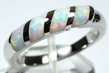 White Fire Opal Inlay Genuine 925 Sterling Silver Band Ring size 6-8