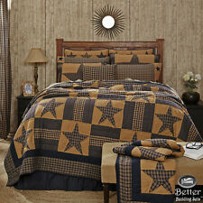 Blue Brown Primitive Plaid Star Rustic Western Country Home Quilt Bedding Set