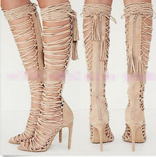 2015 New Womens Leather Strappy Lace Up Knee High Sandals Boots High Heels Pumps