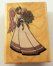 Comotion 1993 Angel Of Grace Holding Flowers Wooden Rubber Stamp
