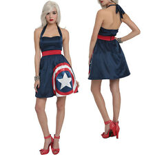 NWT Marvel Avengers Her Universe Captain America Halter Dress Cosplay XS S M L X