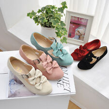 Womens Girls Bowknot Faux Suede Sweet Candy mary Janes Wedding Shoes PLus Size