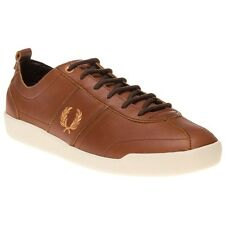 New Mens Fred Perry Brown Stockport Leather Trainers Retro Lace Up