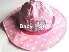 Girls Pink & White Spotty Sun Hat Summer Ages Baby 6-23 Months or 2-6 Years NEW